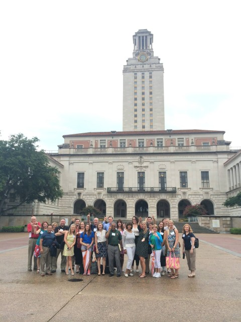 2014 PHELAP Conference attendees stop for a photo outside of the University of Texas Tower on the Austin campus.